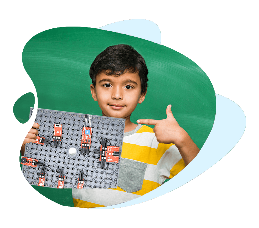 Child with Circuit Building Kit, building Electronic circuits, for age 7+ years