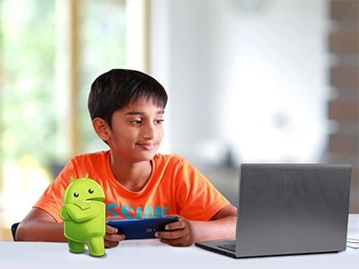 Child learning and coding Android Apps online, for age 10+ years