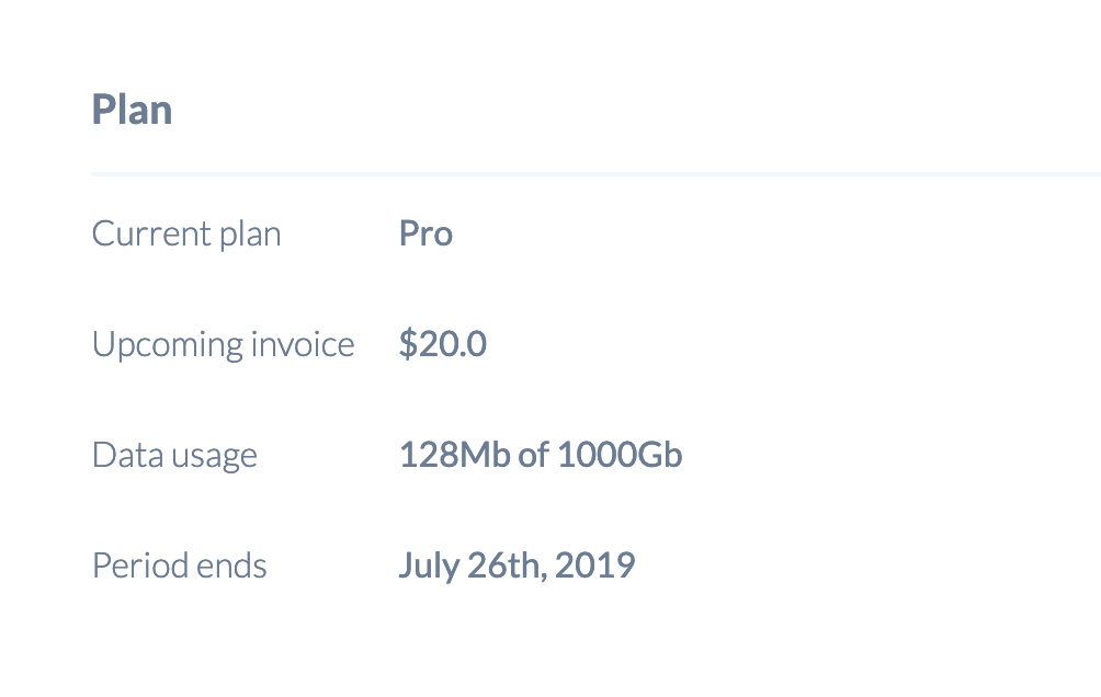 Upcoming invoice