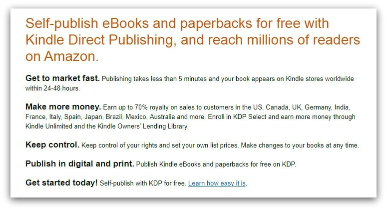 self-publishing on amazon
