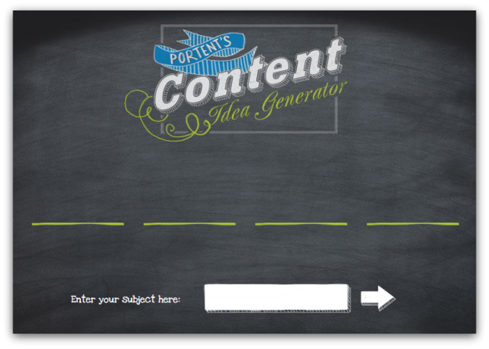 Portent's Content Idea Generator home page screenshot