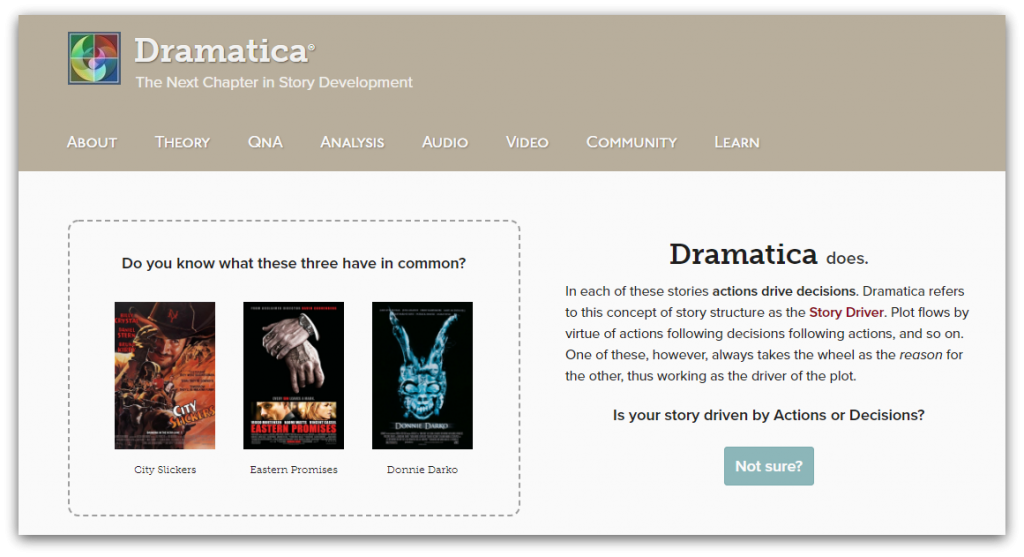 Dramatica homepage screenshot