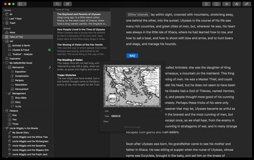 Ulysses image addition screenshot