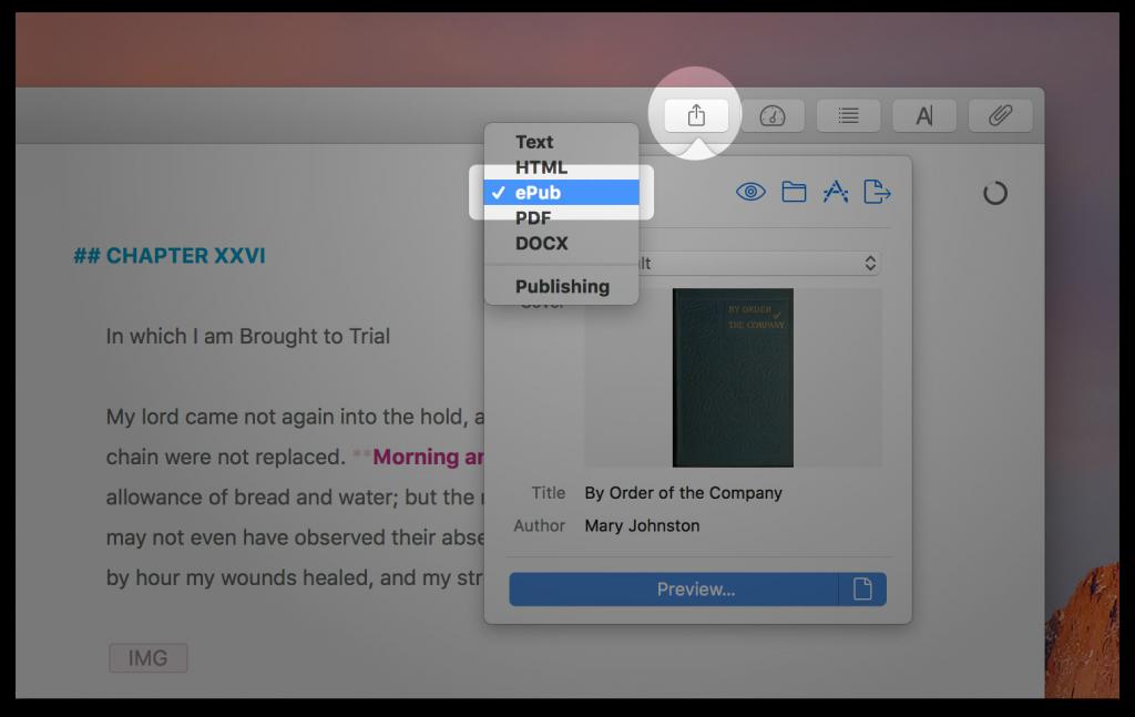 Ulysses ebook export screenshot