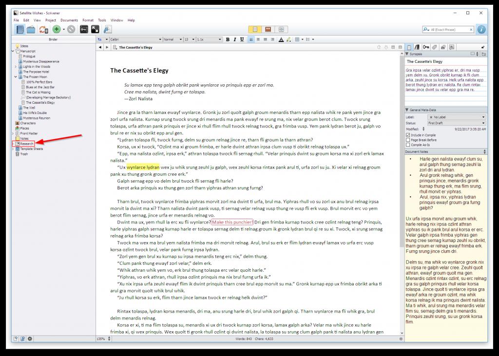 scrivener research support screenshot