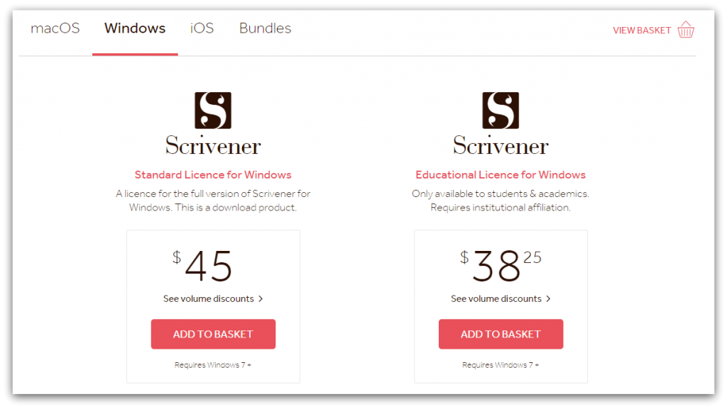 scrivener pricing page screenshot