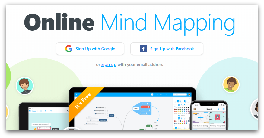 online mind mapping tool screenshot