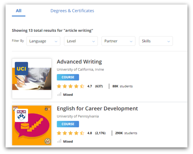 coursera writing courses screenshot