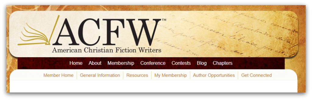American Christian Fiction Writers homepage screenshot