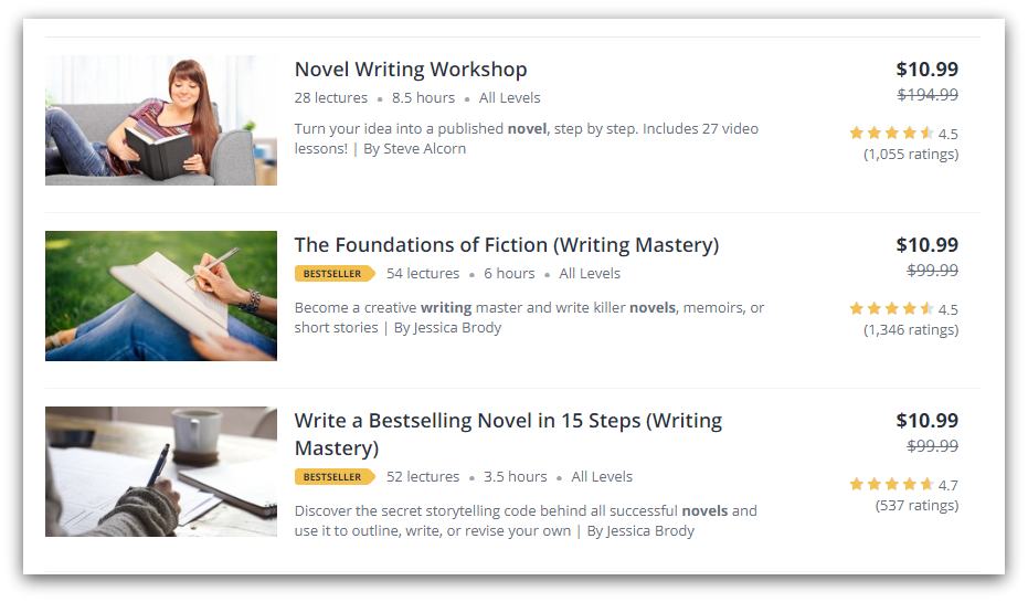 udemy writing courses screenshot