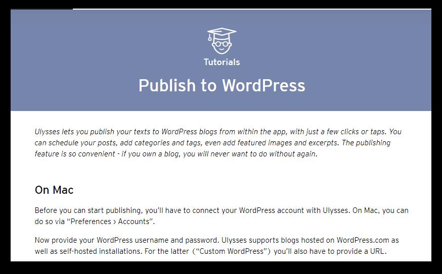 ulysses wordpress publishing screenshot