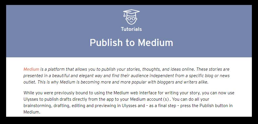 ulysses medium publishing screenshot