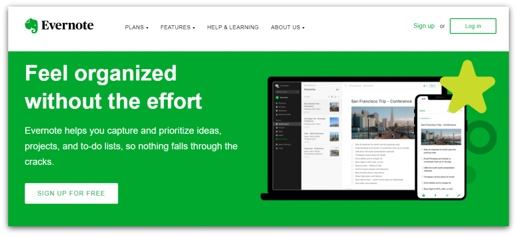 Evernote home page screenshot