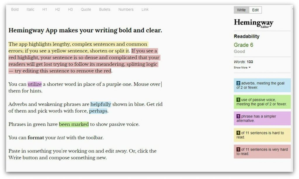 Hemingway writing tool