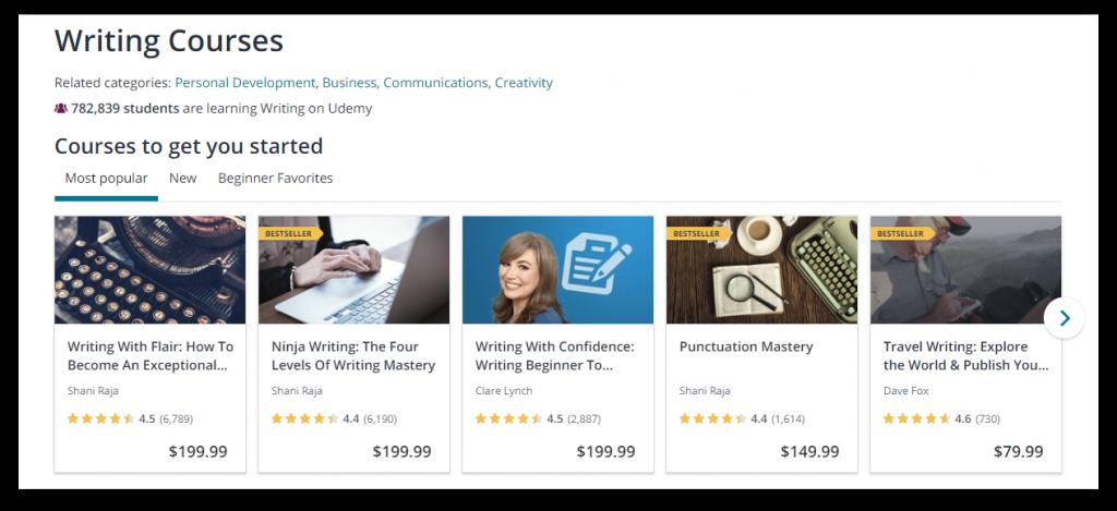 udemy writing course screenshot