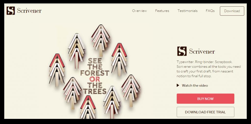 Scrivener screenshot of homepage