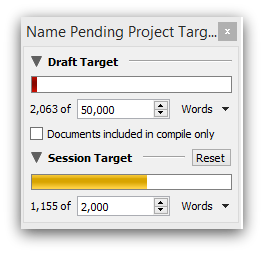 Scrivener goal setting feature example
