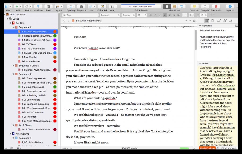 Scrivener inspector screenshot