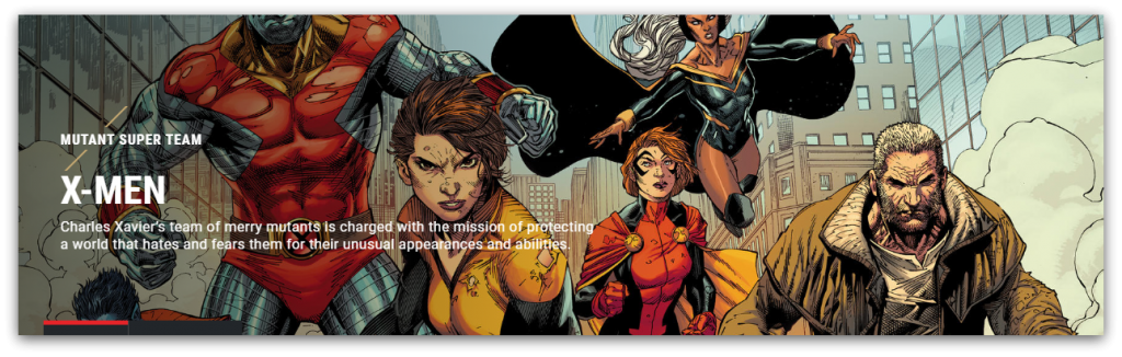 x-men homepage screenshot