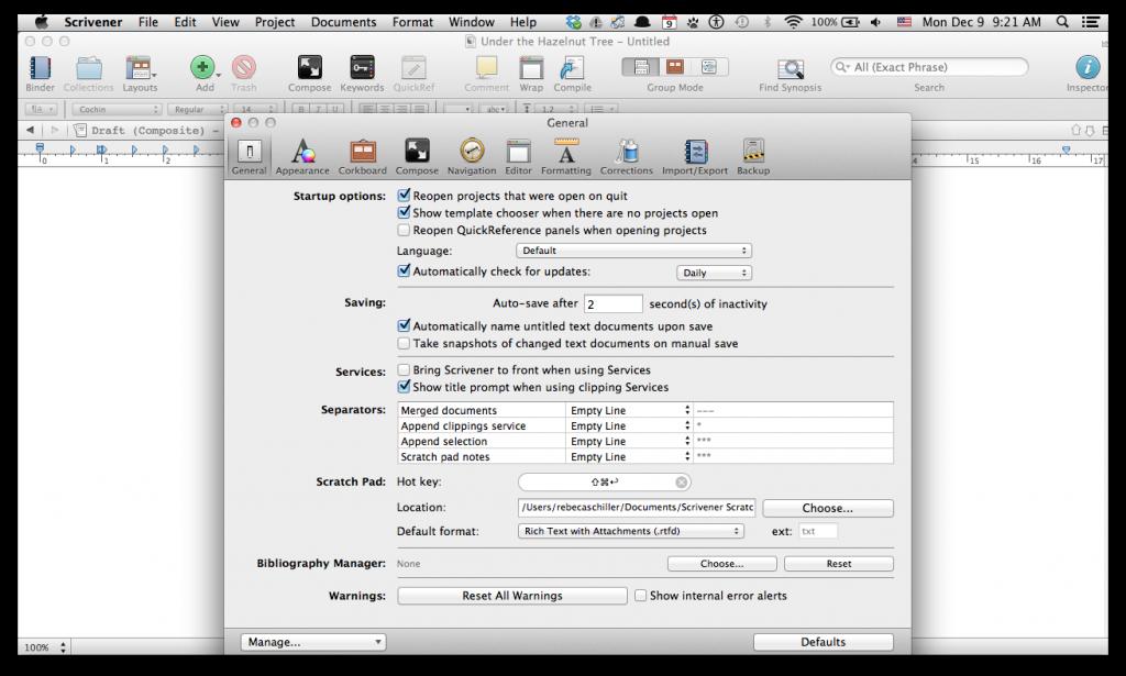 Scrivener general preferences screenshot