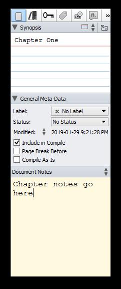 Scrivener sidebar screenshot