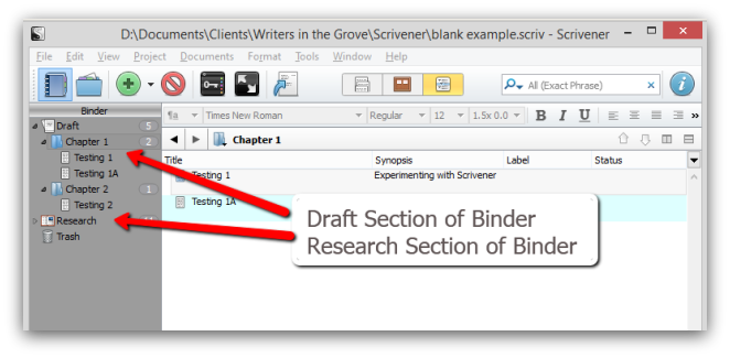 Scrivener binder screenshot