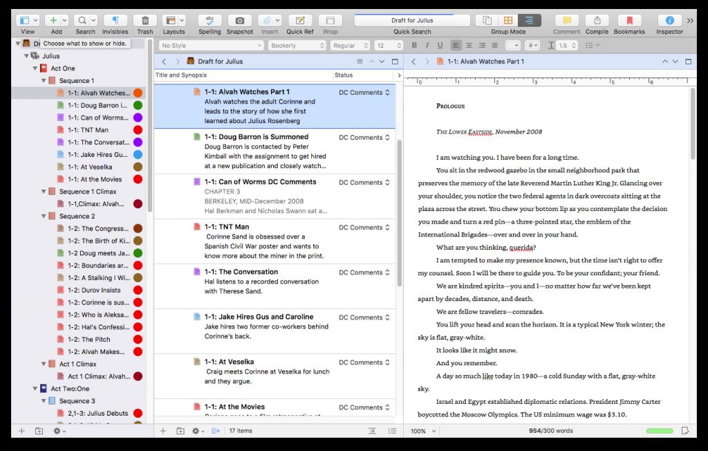 Scrivener binder feature example