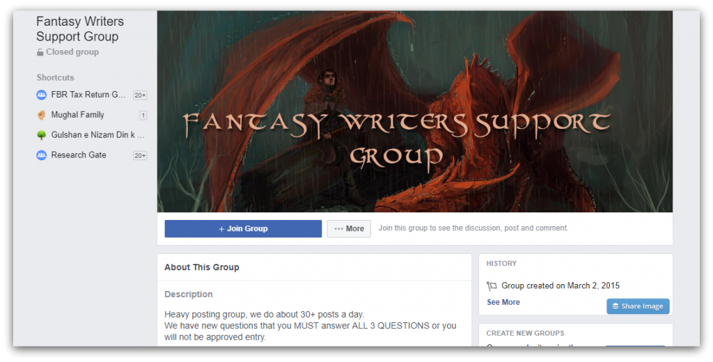 fantasy writers facebook page screenshot