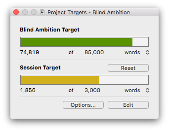 Scrivener progress bar
