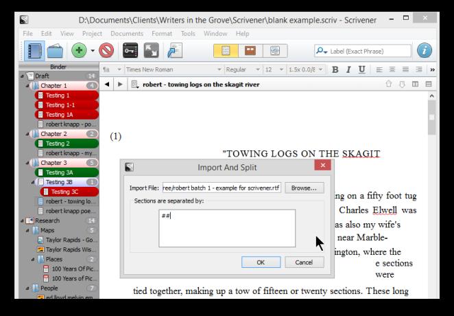 Scrivener import feature screenshot