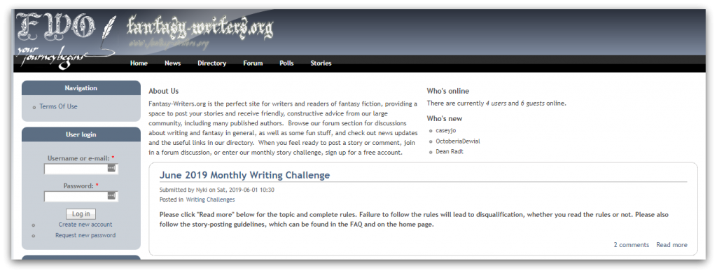 fantasy-writers.org screenshot