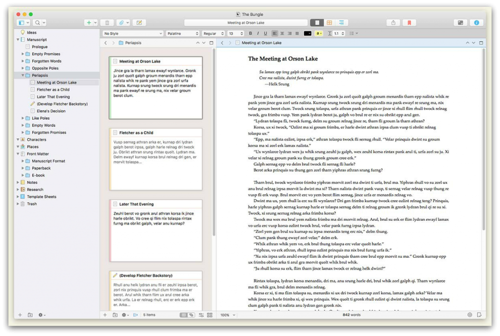 Scrivener single project example