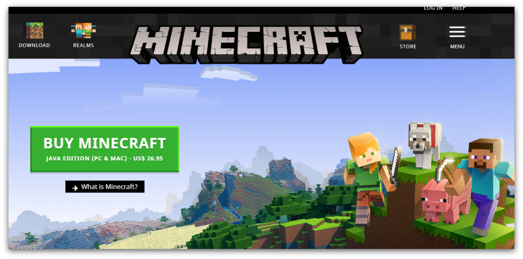 minecraft homepage screenshot