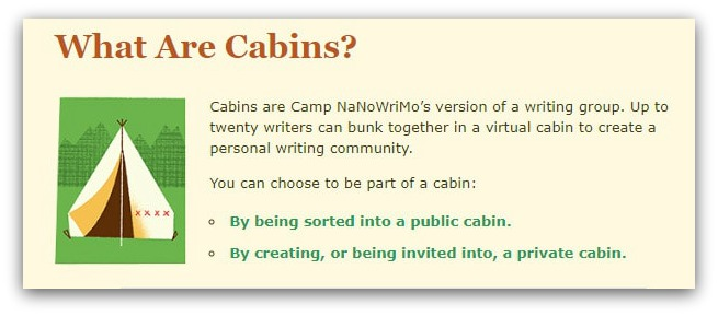 camp nanowrimo cabins