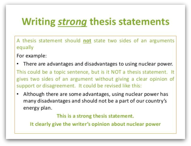 good and bad thesis statement example