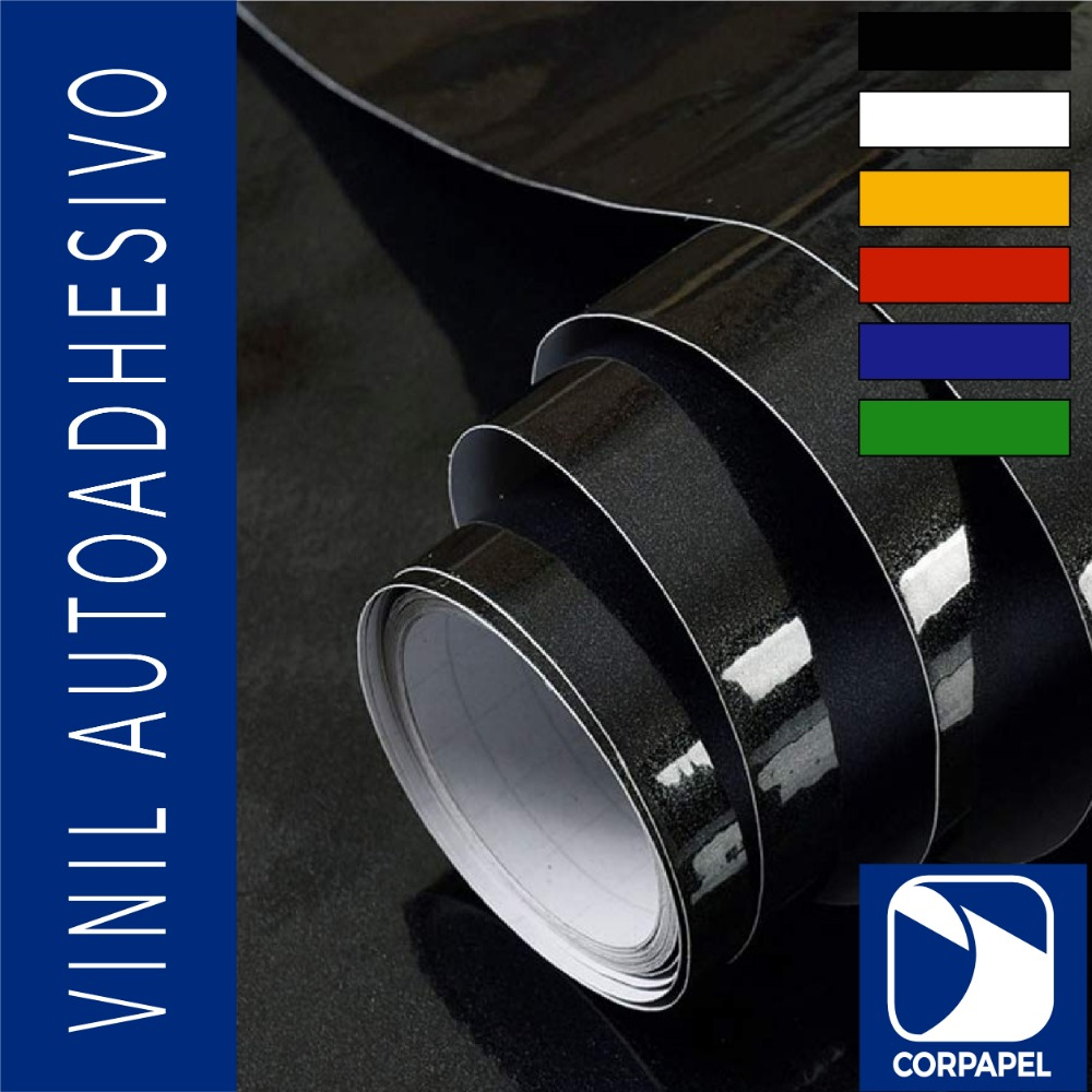 Vinil Adhesivo Brillante Negro