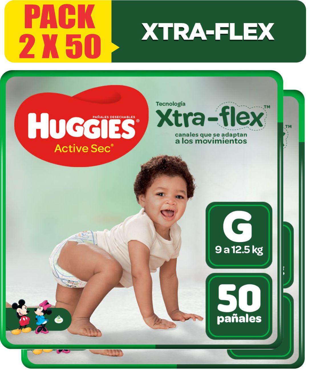 Pañales Para Bebé Huggies Active Sec Xtra-Flex Talla G Pack x 2 paquetes de 50 Unid