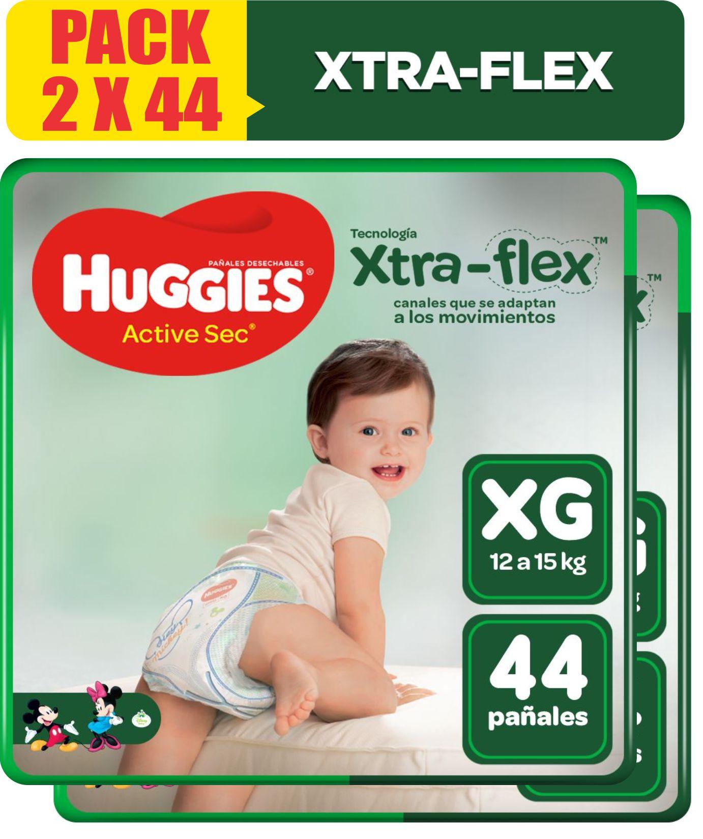 Pañales Para Bebé Huggies Active Sec Talla XG Psck x 2 paquetes de 44 Unid
