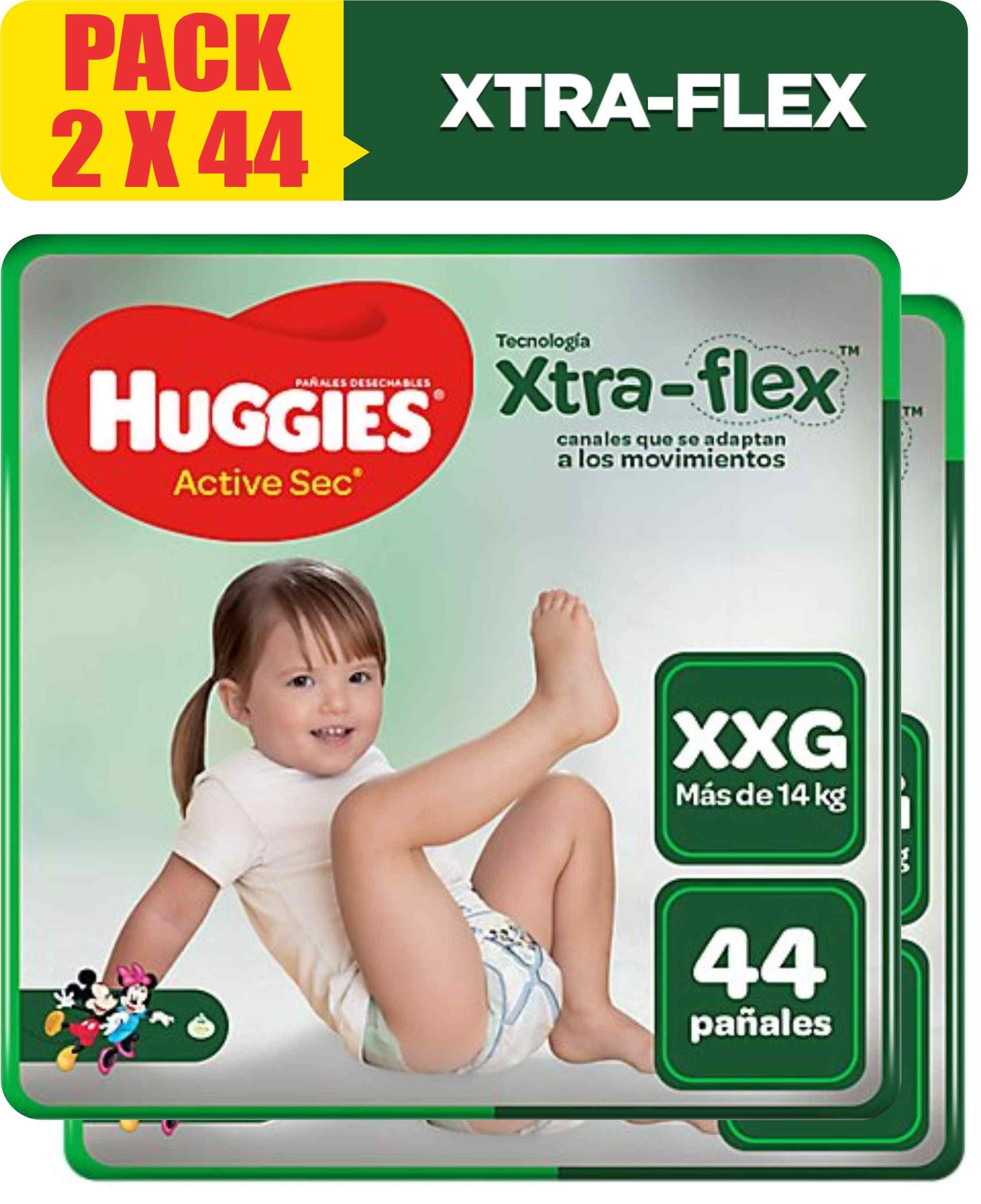 Pañales Huggies Active Sec Xtra Flex Talla XXG - Pack x 2 bolsas 44 unidades