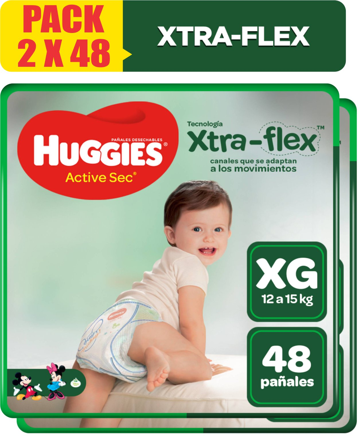Pañales Huggies Active Sec Xtra Flex Talla XG - Pack x 2 bolsas 48 UN