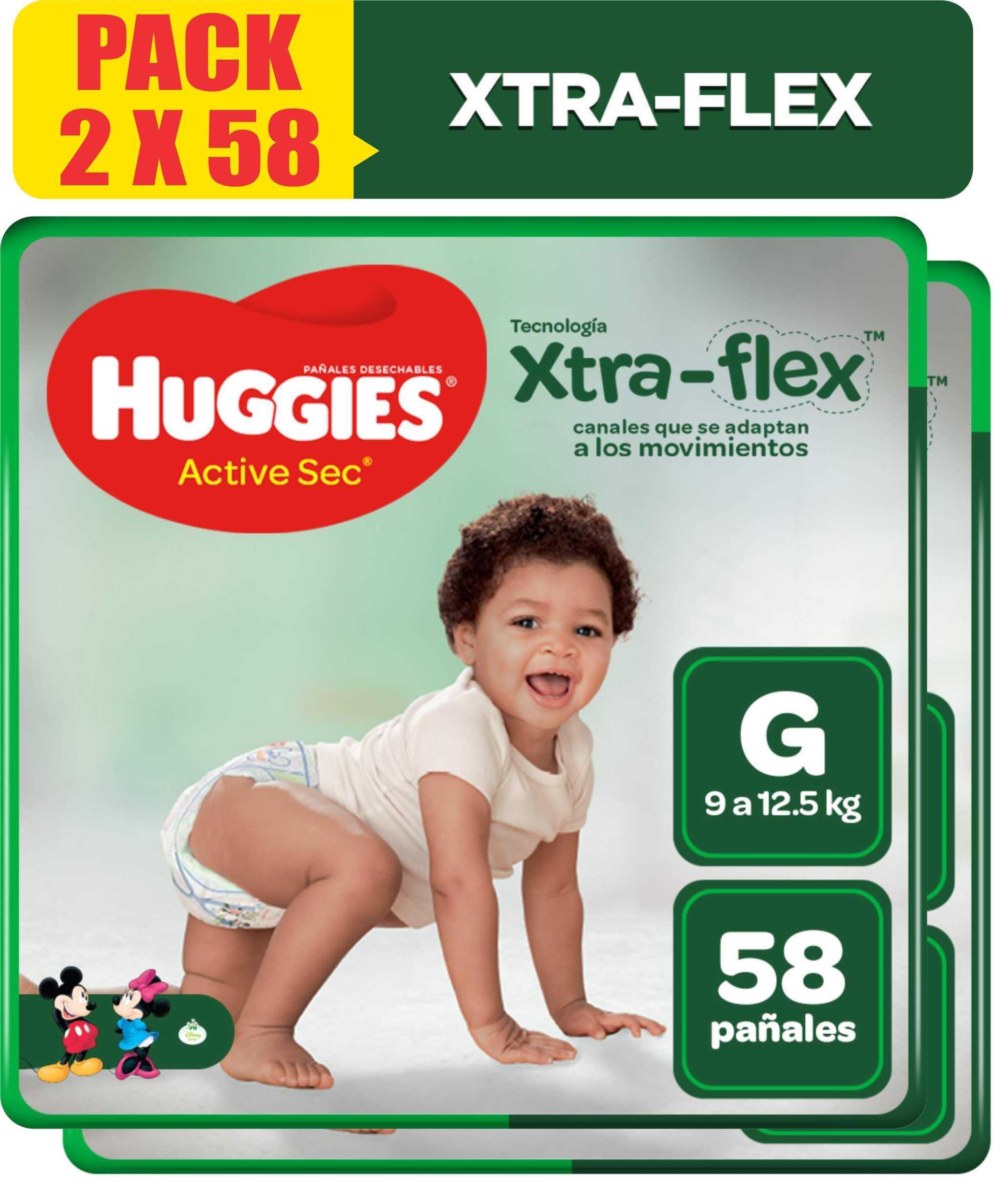 Pañales Huggies Active Sec Xtra Flex Talla G - Pack x 2 Bolsas de 58 UN