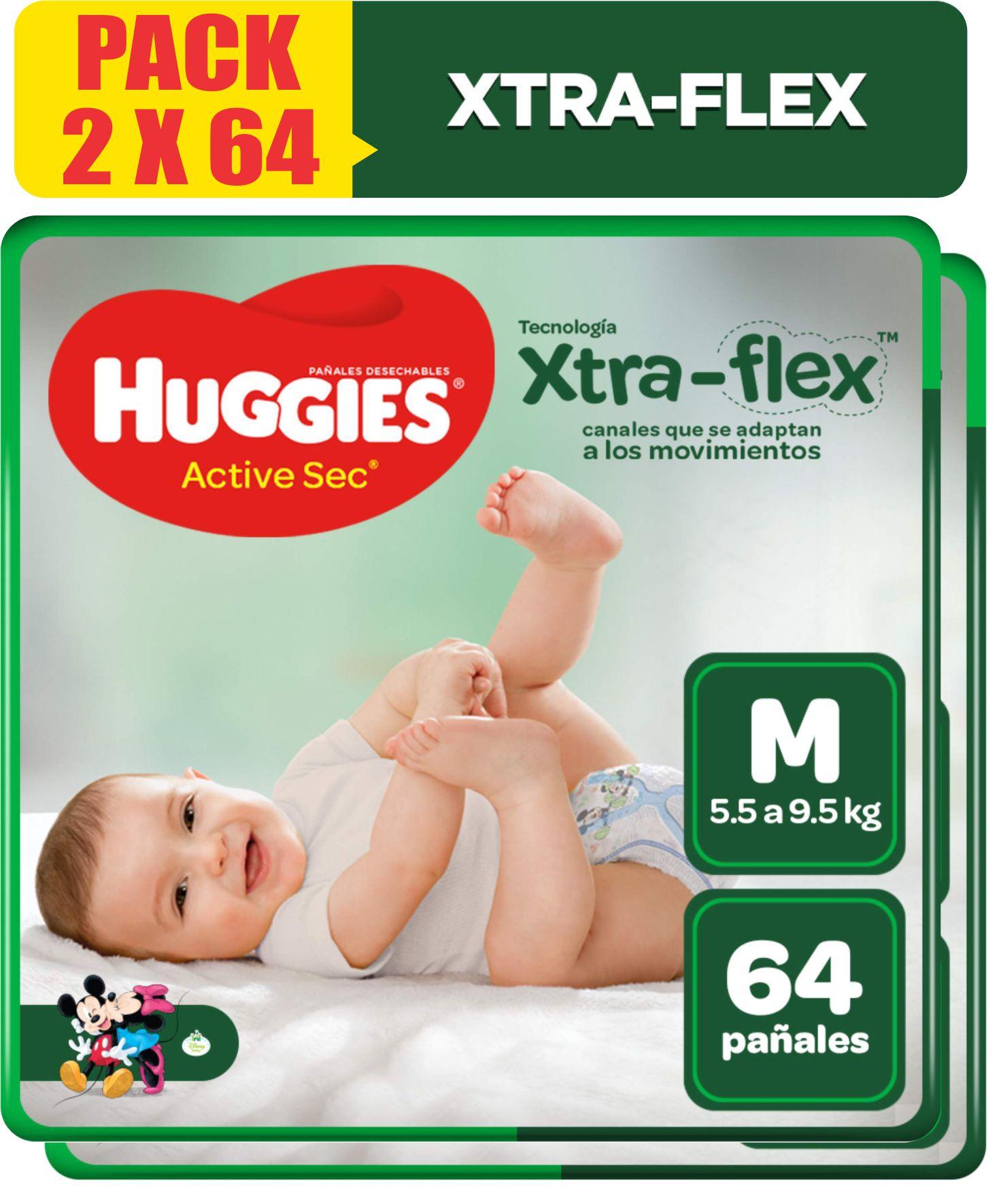 Pañales Huggies Active Sec Xtra Flex Talla M - Pack 2 Bolsas de 64 UN
