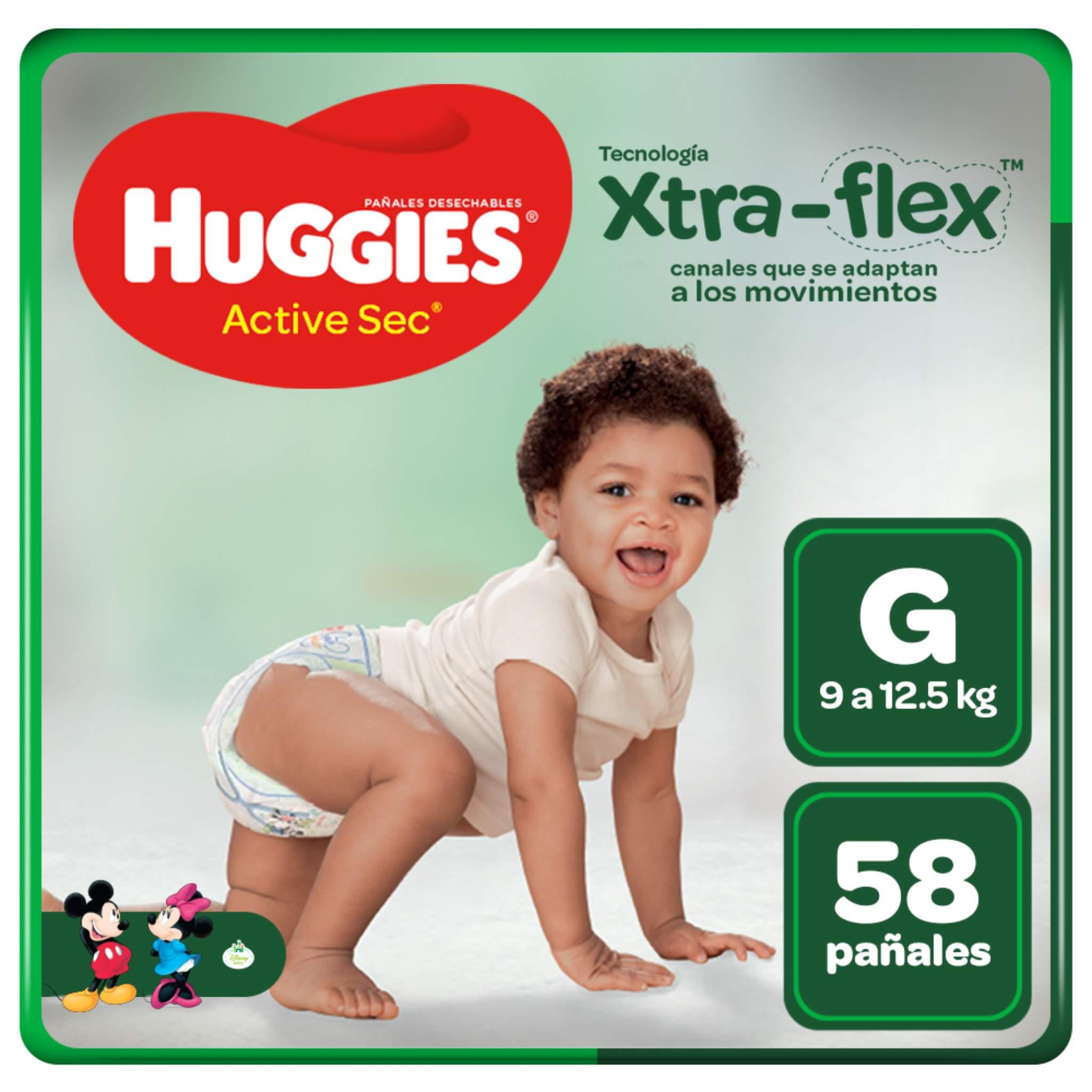 Pañales Huggies Active Sec Xtra Flex Talla G - Bolsa 58 UN