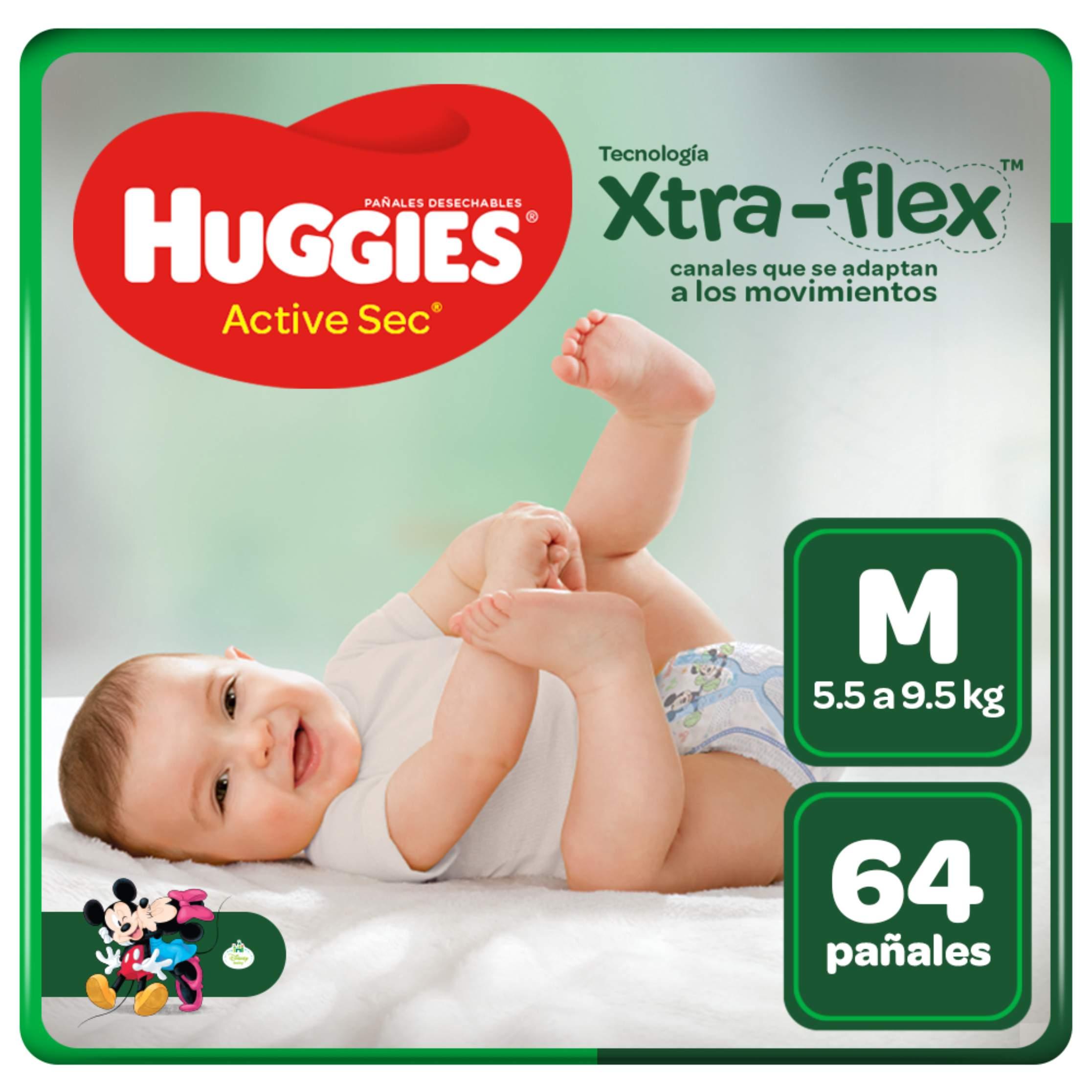 Pañales Huggies Active Sec Xtra Flex Talla M - Bolsa 64 UN