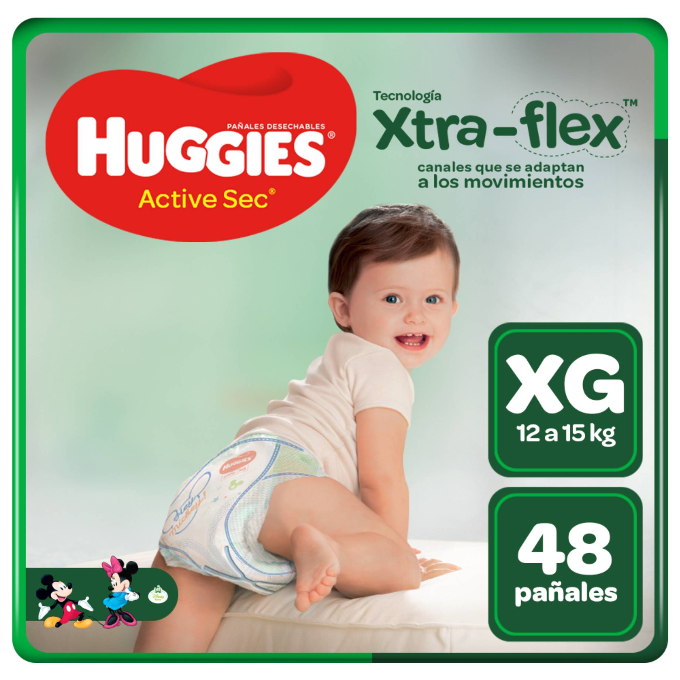 Pañales Huggies Active Sec Xtra Flex Talla XG - Bolsa 48 UN