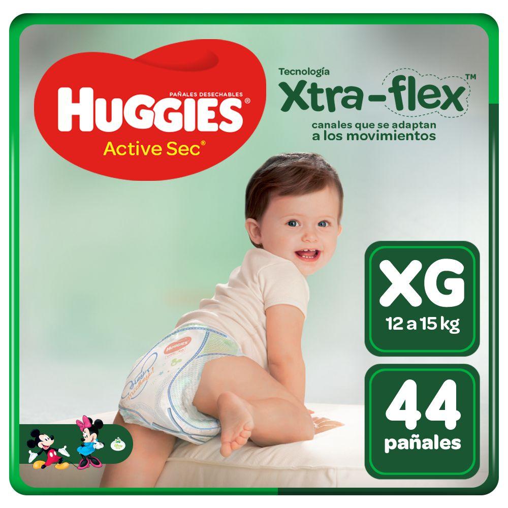 Pañales para Bebé Huggies Active Sec Talla XG Paquete 44 unid