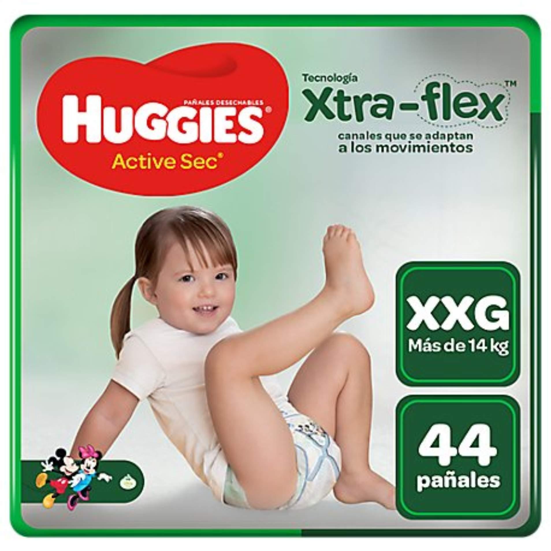 Pañales Huggies Active Sec Xtra Flex Talla XXG - Bolsa 44 UN