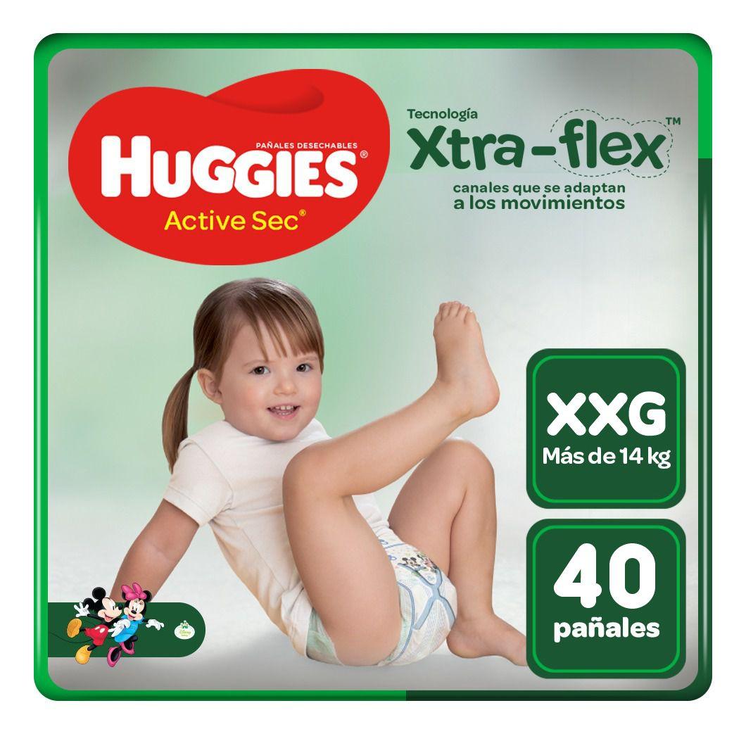 Pañales para Bebé Huggies Active Sec Talla XXG Paquete 40unid