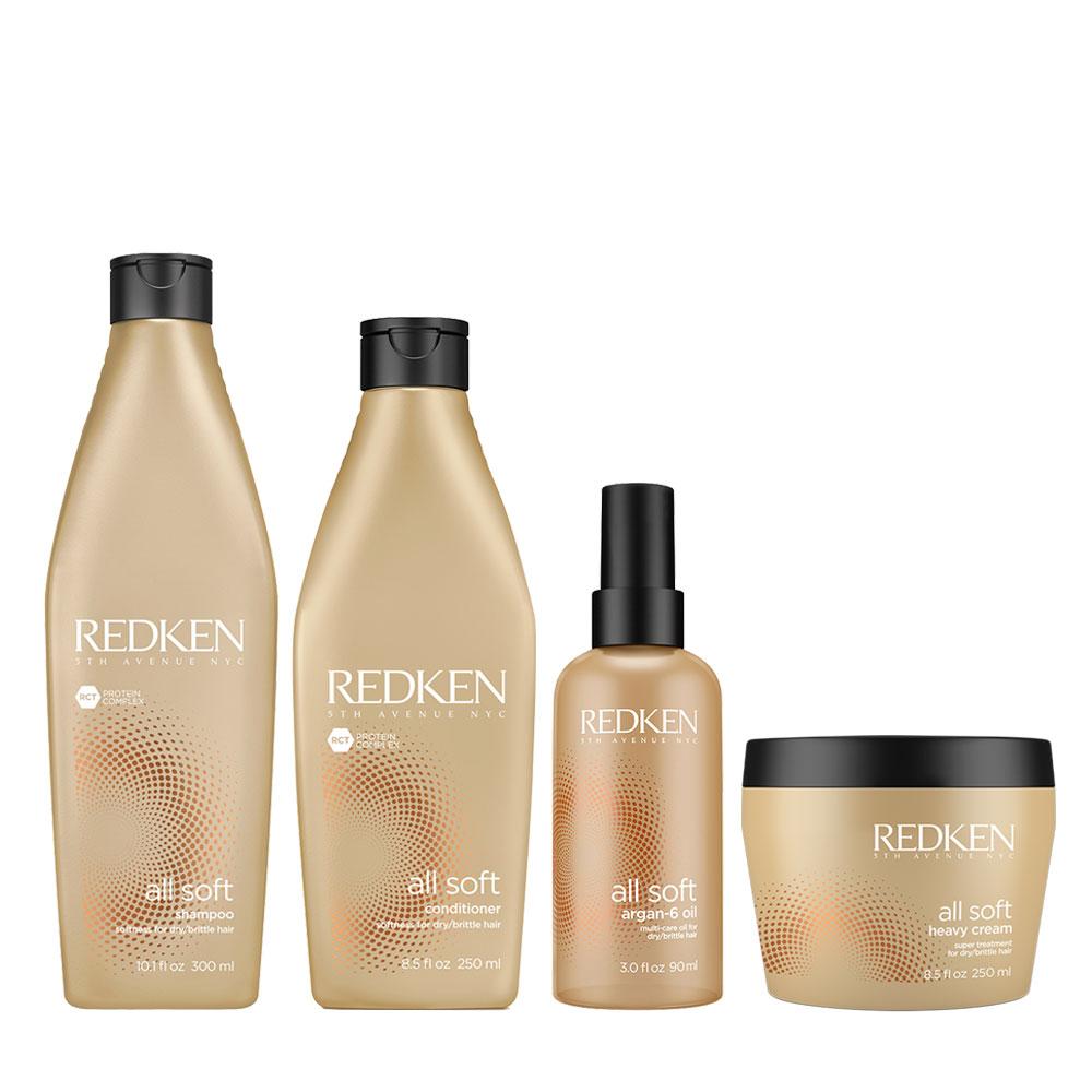 Pack Redken All Soft Shampoo 300 ml + Acond. 250 ml + Mascarilla + Serum