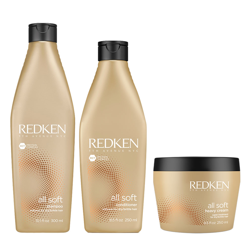 Pack Redken All Soft Shampoo 300 ml + Acond. 250 ml + Mascarilla 250 ml